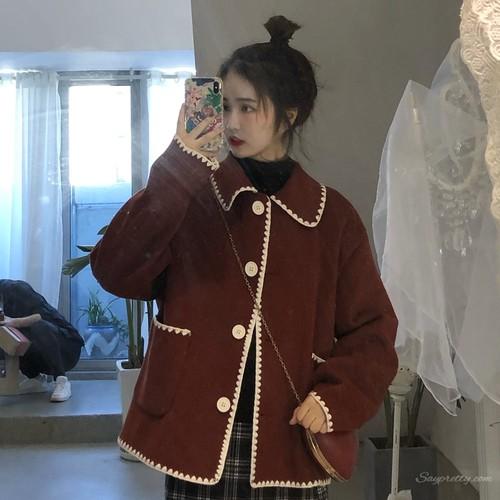 【アウター】2019秋冬レトロファッション配色ラウンドカラーゆったり長袖ラシャカーディガン