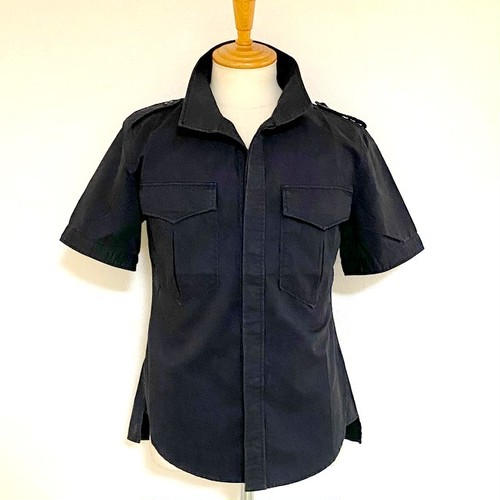 Twill Raised Neck S/S Shirt Dark Navy