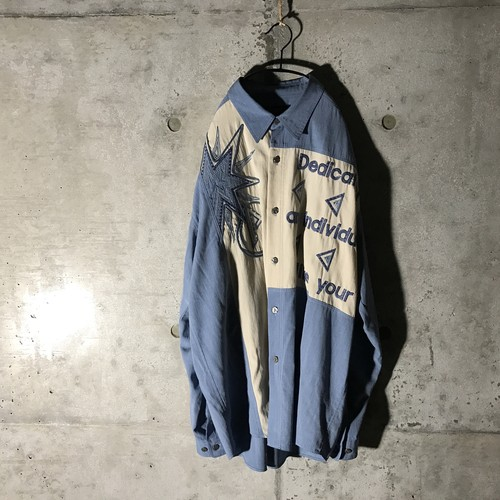 [used] white parted blue shirt