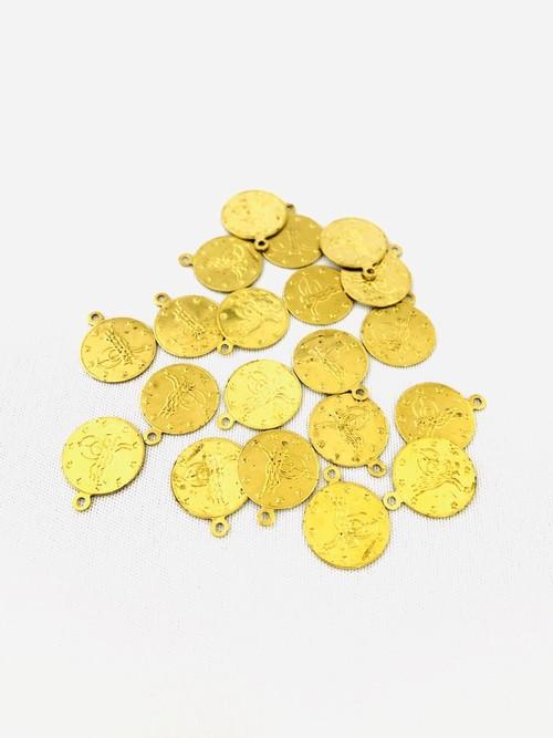 オスマンのサイン・トゥーラのコインパーツ  1.4mm 1穴 ゴールド 20個入 TP-350