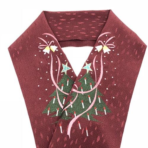 刺繍半衿 クリスマス柄