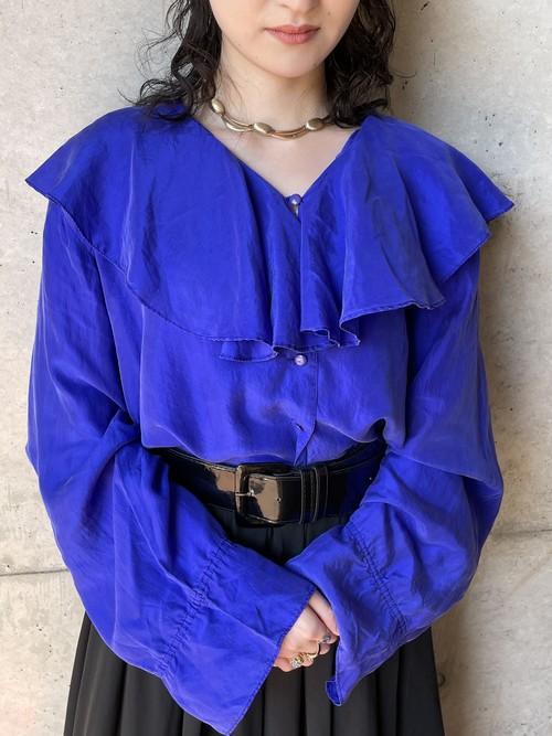 Vintage Blue Violet Ruffled Collar Silk Blouse