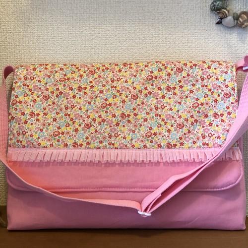 ショルダーバッグタイプの図書袋・図書バッグ☆ピンクフラワー☆