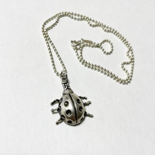 Vintage 925 Silver Ladybug Pendant Necklace