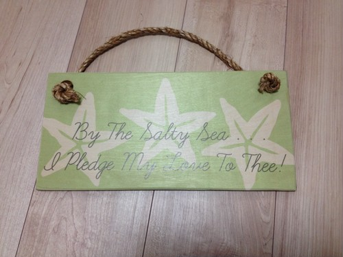 Wood sign 6.5×13 Green/White