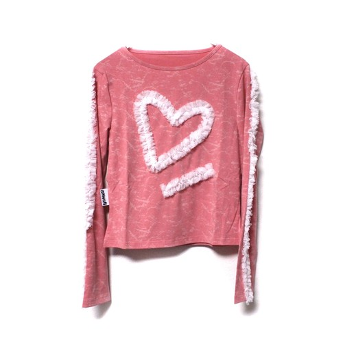 【SOMEWHERE NOWHERE】Heart tie dye top pink