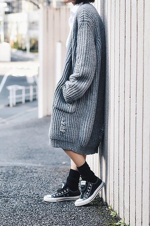 新作☆ほつれデザイン カシミヤ ウール カーディガン By Genuine People