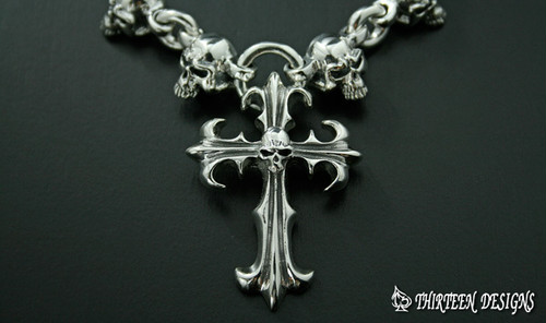 THIRTEENDESIGNS サーティーンデザインズ KN-3N SMALL SKULL CHAIN & SMALL THORN CROSS NECKLACE