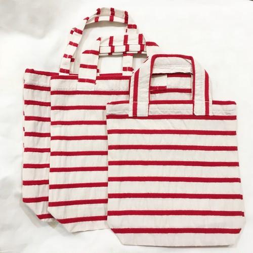 【maco】トートbag XSサイズ(赤ボーダー)3type