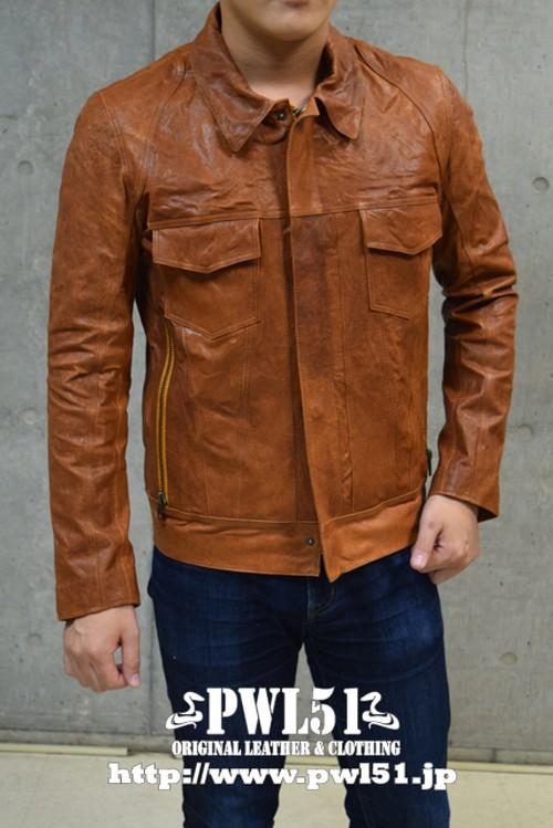 レザージャケット 本革 シングル ライダース 襟付き ラム皮革 キャメル メンズ