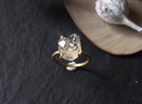 M様オーダー 原石のダイヤモンドクォーツのリング