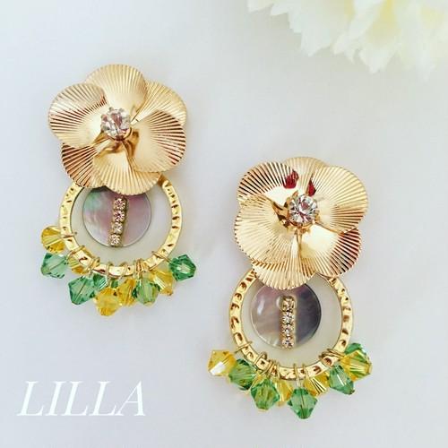 gold flower × tropical hoop