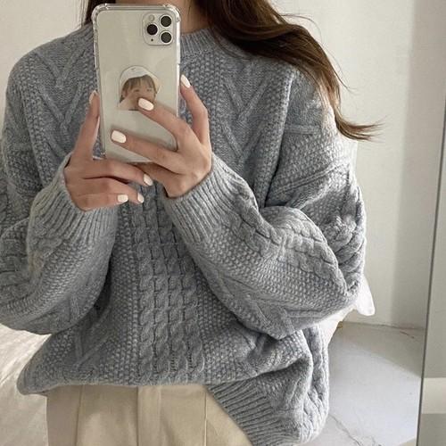 ラウンドネックルーズツイストセーター U4985