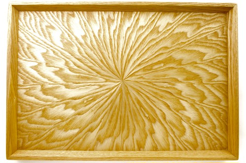 シオジ笹杢 光線貼り長手盆 0012
