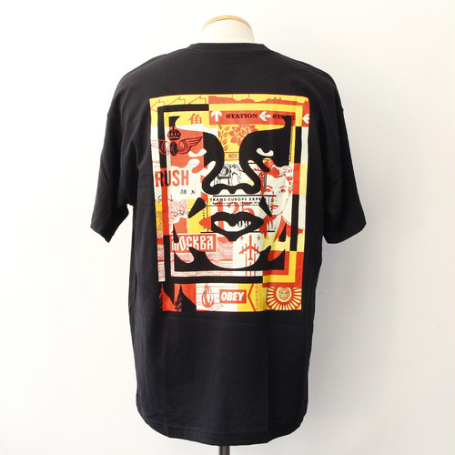 OBEY 3 FACE COLLAGE TEE [RECYCLE] (BLACK)