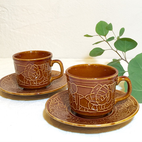 "Vintage Mid-Century Signed ""TAMS"" made in England Coffee Cup&Saucer [CCV-8]"
