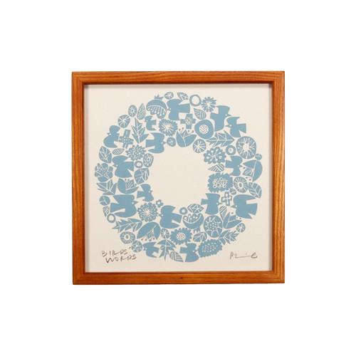 BIRDS' WORDS Silk Screen 20 Wreath アイボリー/ブルー 額装タイプ
