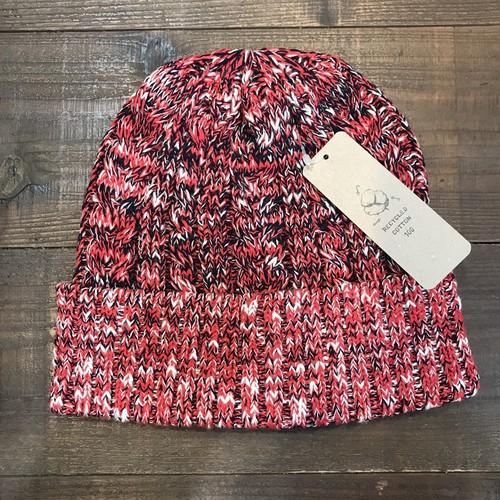 オーガニックコットンニット帽 レッド/ネイビー