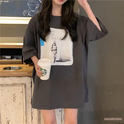 【トップス】夏新作ルーズプリントアルファベットラウンドネックTシャツ