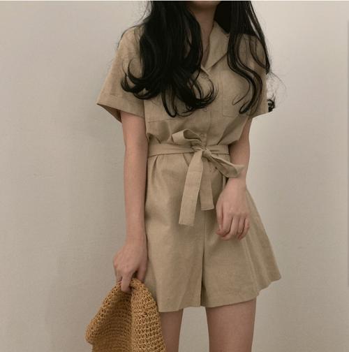 【ワンピース】レトロ通勤ファッションハイウエスト切り替えショート丈パンツ オールインワン