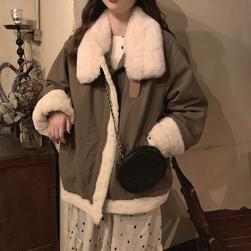 2色 ファー付き フライトジャケット 秋 冬 あったか 防寒 レディース ファッション 韓国 オルチャン