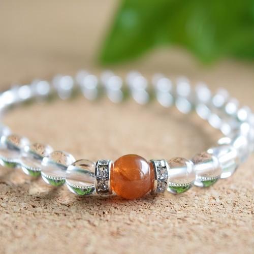 オレンジガーネットと水晶の天然石ブレスレット