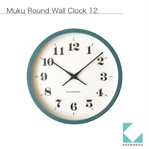 KATOMOKU muku round wall clock 12 ブルー km-97BRCS SKP電波時計