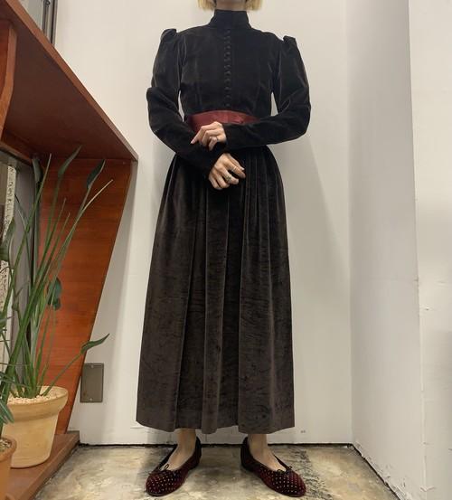 1980s Ralph Lauren stand collar puff sleeve velours maxi one-piece 【4】