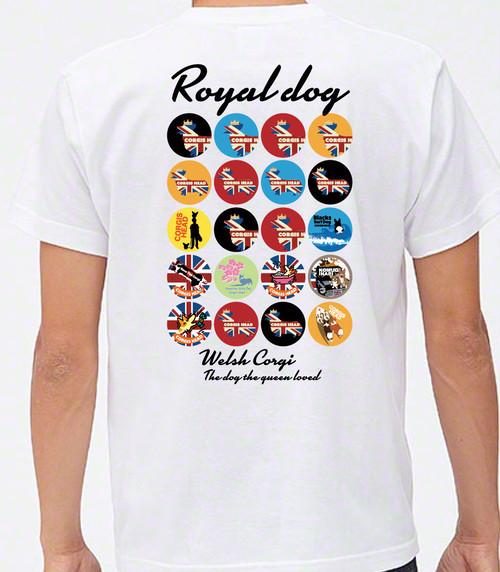 No.2019-3003 ロイヤルドッグシリーズ コーギーズヘッド缶バッジデザインTシャツ