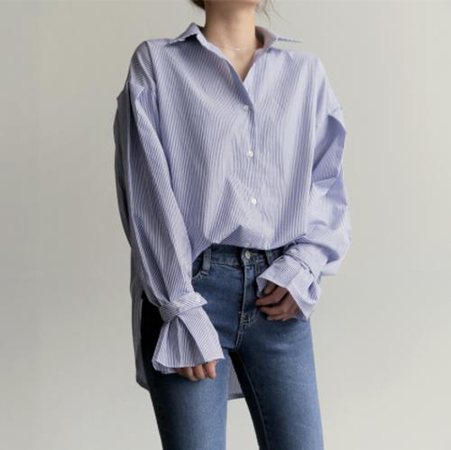 女子 高校生 の 人気 ファッション チュニック カレッジ風 ストライプ シャツ・ブラウス トップス