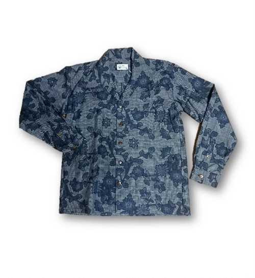 2 大島紬リメイク メンズ長袖シャツ(ブルー系花柄・M)