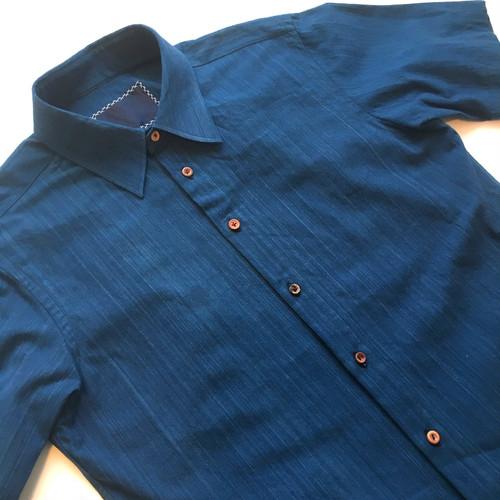 VARIOUS 武州藍染 ランダムウッドボタン S/S シャツ 半袖 Bushu Aizome Shirts w/wood buttom