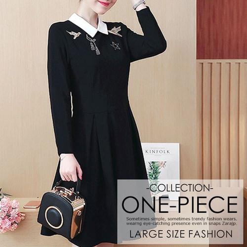 ワンピース 大きいサイズ 刺繍デザイン 襟付き ブラックワンピ