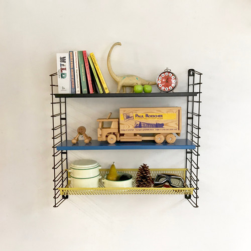 """""""TOMADO"""" Metal Wall Shelving with Basket Design by A. D. Dekker 60's オランダ"""