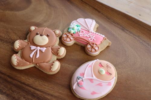 赤ちゃんパック ピンク【名入れオプション有】アイシングクッキー