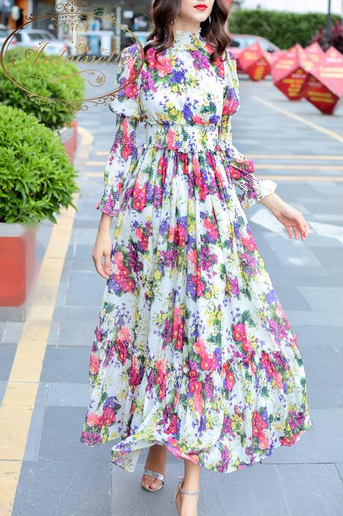 """Women's Summer Beach Chiffon Maxi Dress Elegant Elasticity Waist Floral Print Runway Maxi Long Dress """