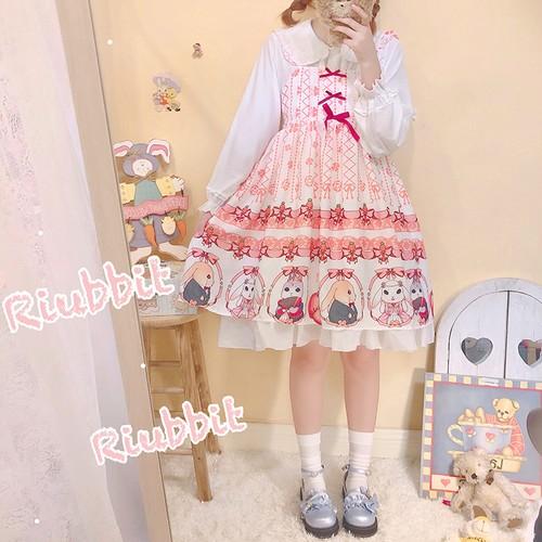 【セットアップ】日系Lolitaプリント動物柄ワンピース+清新タンクトップ二点セット