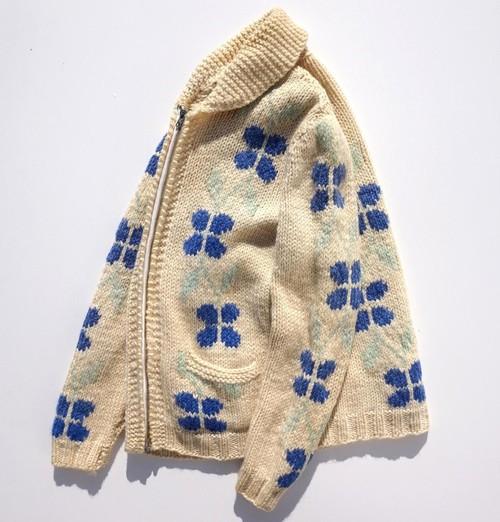 1960's~ 花柄カウチンセーター FLASHジッパー アイボリー×ブルー 実寸(XS〜S位)