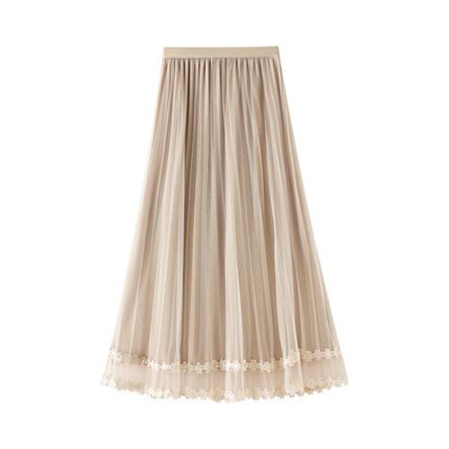 4色 fairy フラワー刺繍プリーツスカート c3080