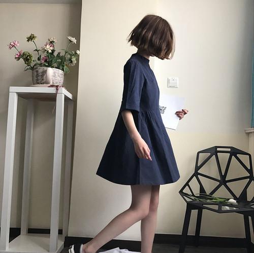 【即納♡】コットンネックフリルワンピース 5976
