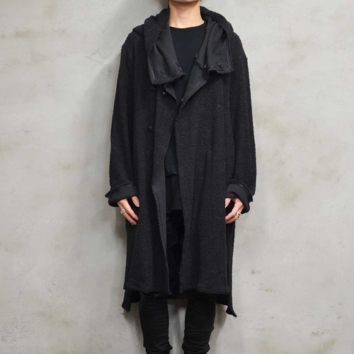 """Cotton Pile"" Hoodie Over Coat〈Black〉"