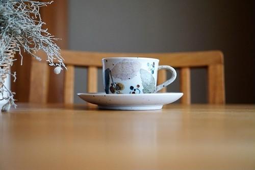 砥部焼/カップ&ソーサー/木の葉/森陶房