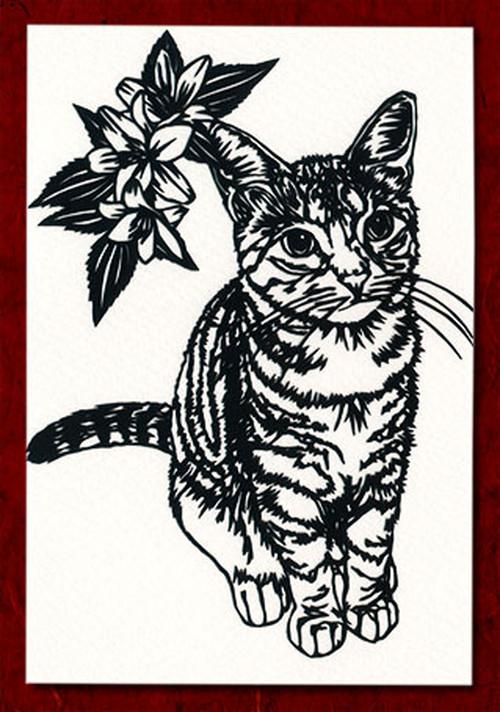 切り絵ポストカードno025 じっと帰りをまつ猫(E-4-03025)