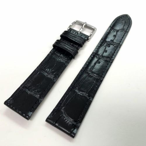 BAMBI 時計バンド ベーシック 牛革 型押し  ブラック 20mm 腕時計ベルト