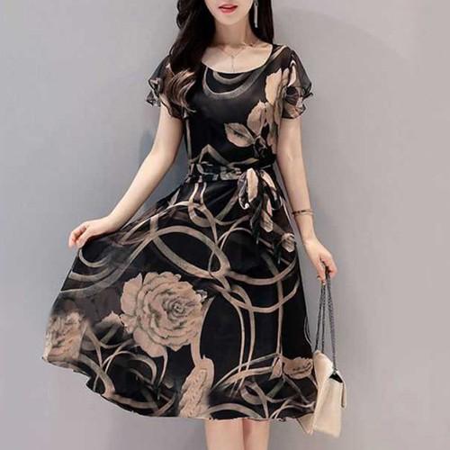 【ワンピース】ファッションラウンドネック着瘦せ花柄エレガントワンピース21054475