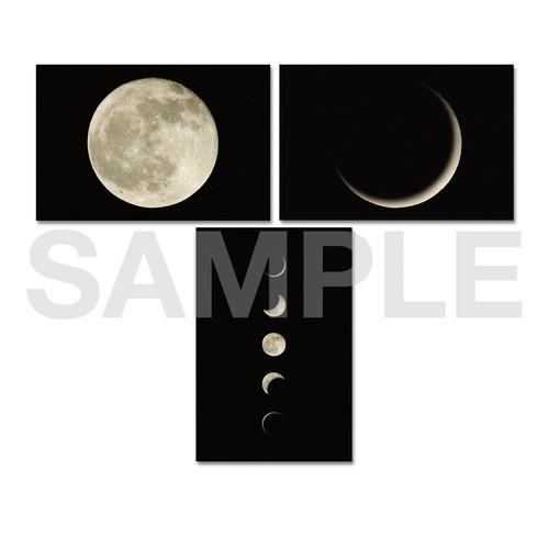 月のポストカード 3種セット〈満月・三日月・5MOON〉