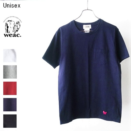 weac. パグ刺繍ポケットTシャツ PUG-T (NAVY)