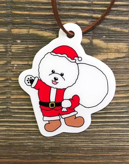 クリスマス サンタ★  キーホルダー 【ビションフリーゼ】