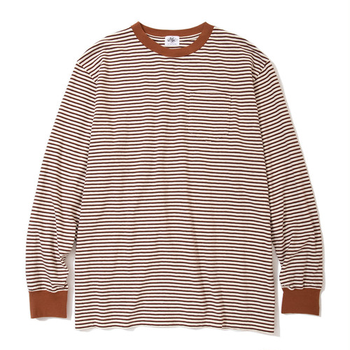 "Just Right ""Wide & Narrow Border Tee"" Natural x Brown"