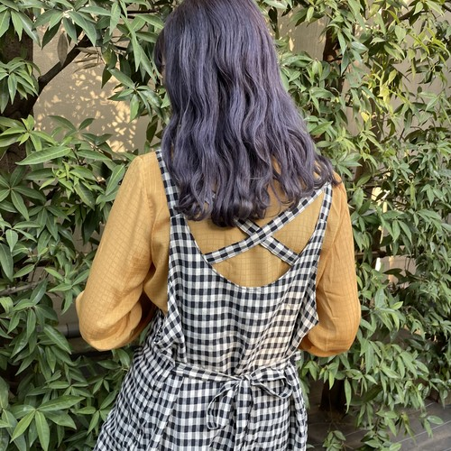 (LOOK) gingham check apron one-piece